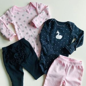 Carter's Newborn Baby Girl Pink and Black Bundle